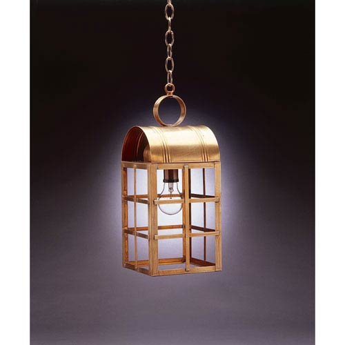 Northeast Lantern Adams Antique Brass One-Light Outdoor Pendant with Clear Glass