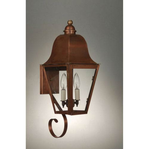 Imperial Antique Copper Two-Light Outdoor Wall Mount with Clear Glass