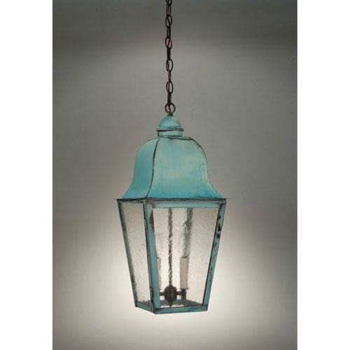 Imperial Verdi Gris Two-Light Outdoor Pendant with Seedy Marine Glass