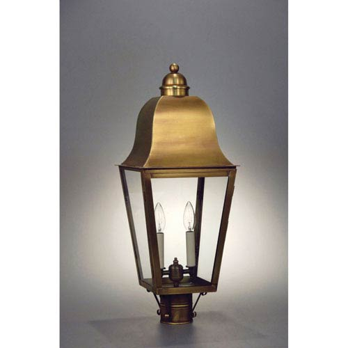 Northeast Lantern Imperial Antique Brass Three-Light Outdoor Post Mount with Clear Glass