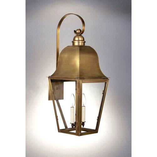 Imperial Antique Brass Two-Light Outdoor Wall Mount with Clear Glass