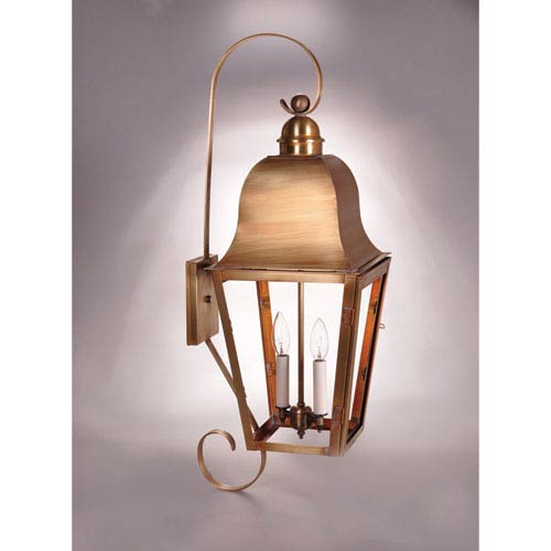 Imperial Antique Brass Two-Light 32-Inch Outdoor Wall Mount with Clear Glass