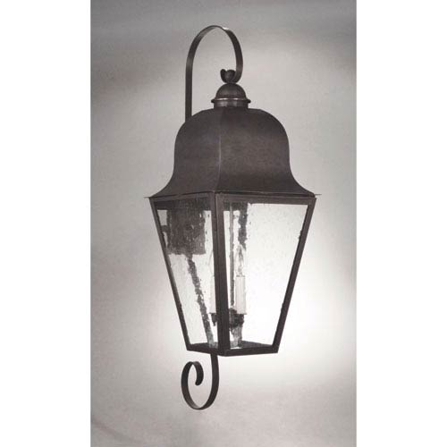 Northeast Lantern Imperial Dark Brass Three-Light 14-Inch Outdoor Wall Mount with Clear Seedy Glass