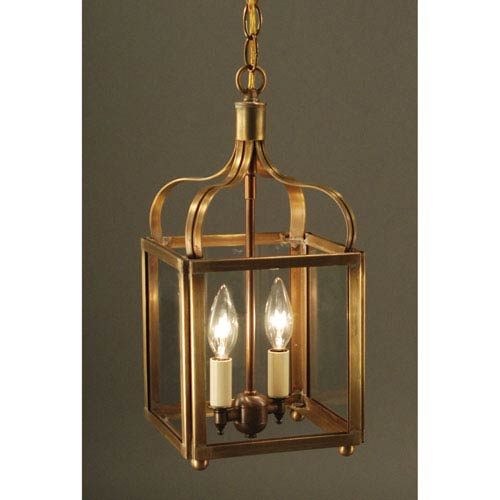 Northeast Lantern Crown Antique Brass Two-Light Chandelier with Clear Glass