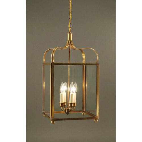 Crown Antique Brass Four-Light Chandelier with Clear Glass