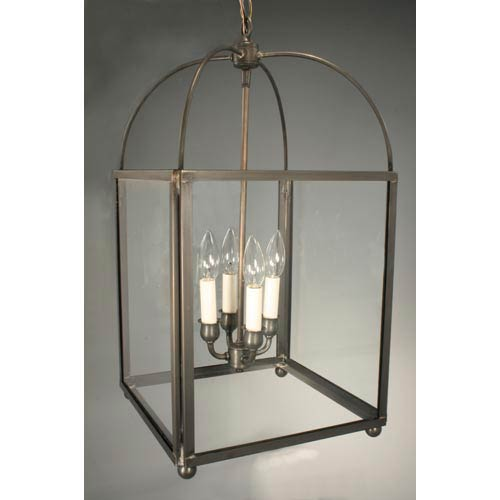 Dark Brass Four-Light Pendant with Clear Glass
