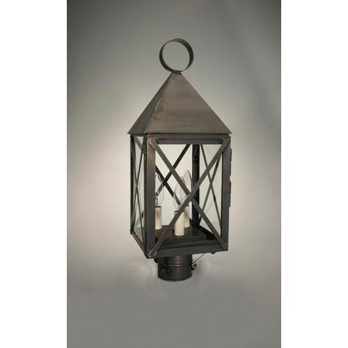 York Dark Brass Three-Light Outdoor Post Light with Clear Glass