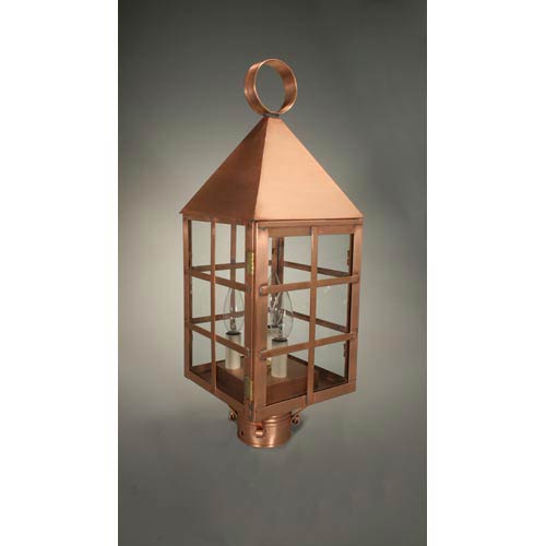Northeast Lantern York Antique Copper Three-Light Outdoor Post Light with Clear Glass