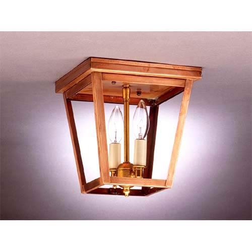 Small Antique Copper Dual-Candelabra Ceiling Lantern
