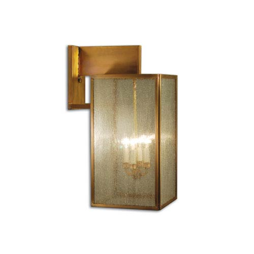 Midtown Antique Brass Four-Light Outdoor Wall Mount with Seedy Marine Glass