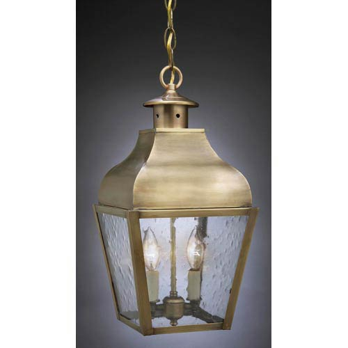 Stanfield Antique Brass Two-Light Outdoor Pendant with Clear Seedy Glass