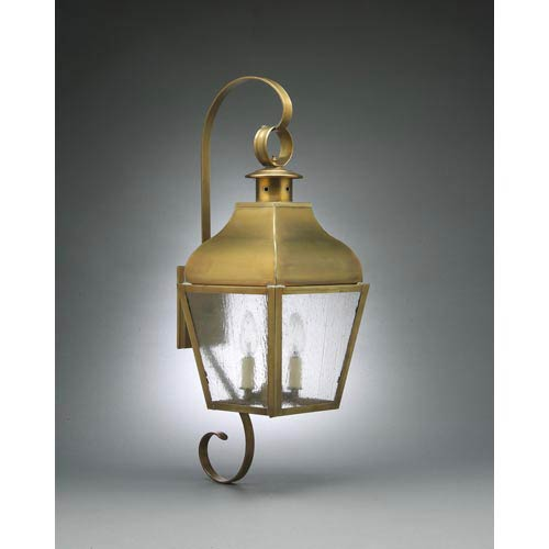 Stanfield Antique Brass Two-Light Outdoor Wall Light with Seedy Marine Glass