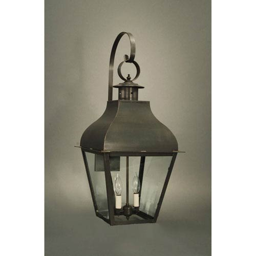 Stanfield Dark Brass Two-Light 13-Inch Outdoor Wall Mount with Clear Glass