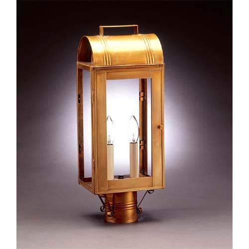 Antique Brass Livery Two-Light Post-Mount Lantern