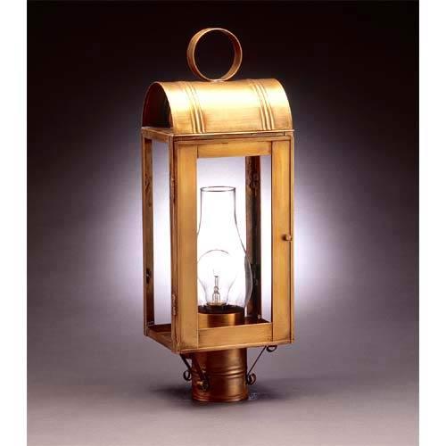 Antique Brass Livery Medium Base Post-Mount Lantern