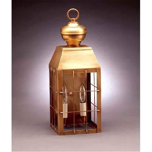 Medium Antique Brass Plantation Outdoor Wall Lantern