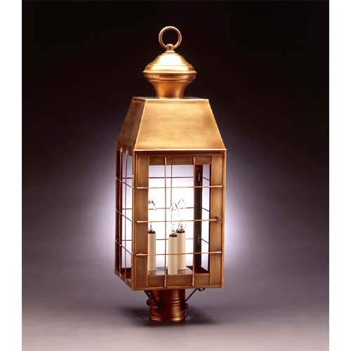 Large Antique Brass Plantation Post-Mount Lantern