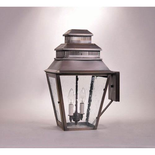 Northeast Lantern Elryan Dark Antique Brass Two-Light Outdoor Wall Mount with Clear Seedy Glass