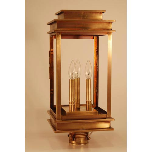 Empire Antique Brass Three-Light Outdoor Post Light with Clear Glass