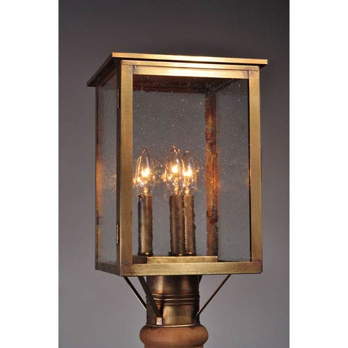 Ashford Antique Brass 9-Inch Three-Light Outdoor Post Mount with Clear Seedy Glass