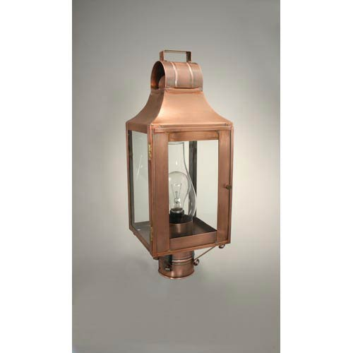 Livery Antique Copper One Light Outdoor Post Light With Clear Glass