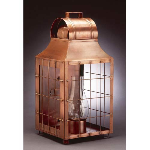 Antique Copper Livery H-Rods Outdoor Wall Lantern
