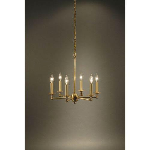 Antique Brass Six-Light Chandelier