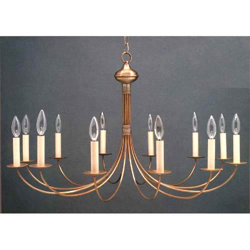 Antique Brass Twelve-Light Candelabra Chandelier