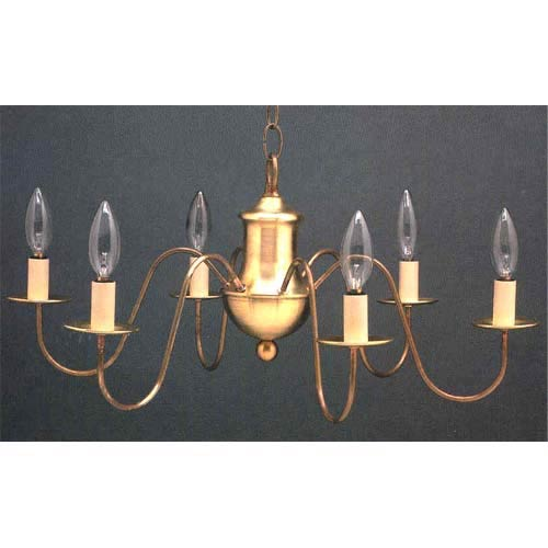 Northeast Lantern Antique Br Early American Six Light Chandelier