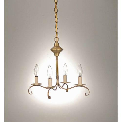 Northeast Lantern Antique Brass Four-Light Chandelier