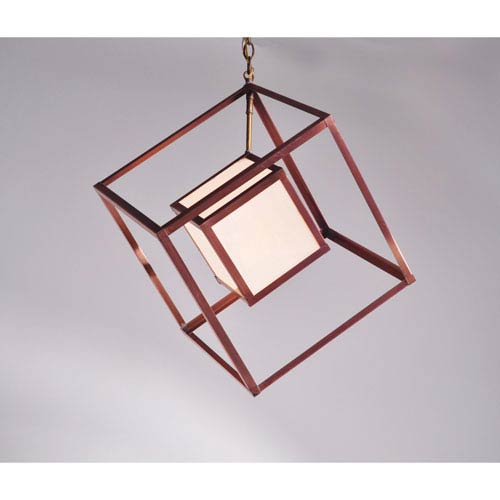 Tesseract Antique Copper One-Light Pendant with White Glass Inside Cube Only