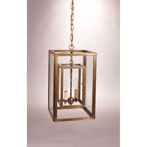 Northeast Lantern Antique Brass Two-Light Chandelier with Clear Seedy Glass