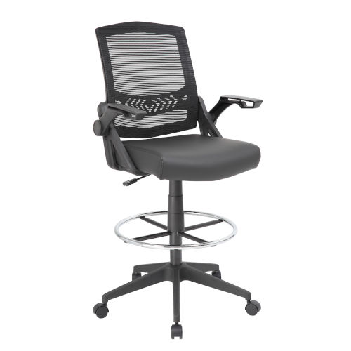 Boss 26-Inch Black Mesh Drafting Stool with Flip Arms
