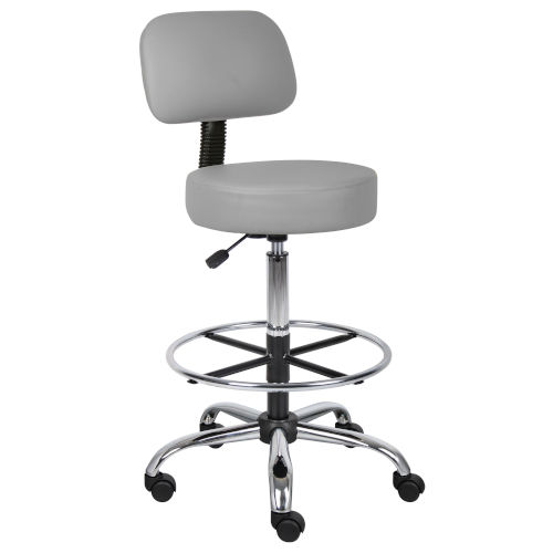 Boss 25-Inch Grey Caressoft Medical and Drafting Stool with Back Cushion