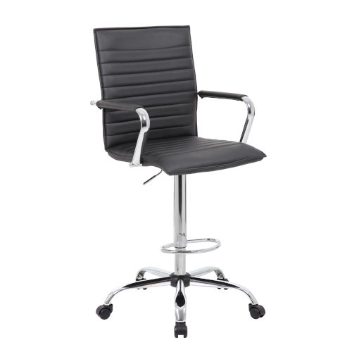 Boss 27-Inch Black Ribbed Drafting Stool