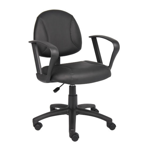 Boss 25-Inch Black Posture Chair with Loop Arms