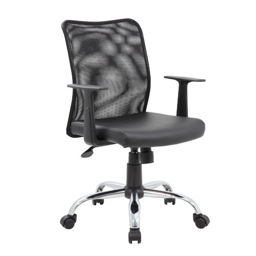 Boss Black Budget Mesh Task Chair with T-Arms