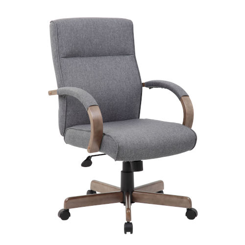 Boss 30-Inch Grey Executive Conference Chair With Driftwood