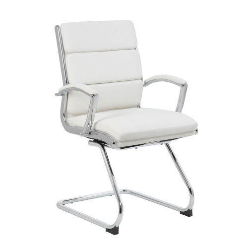 Boss 23-Inch White Executive Chair with Metal Chrome
