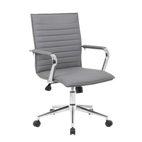 Boss 23-Inch Grey Vinyl Hospitality Chair