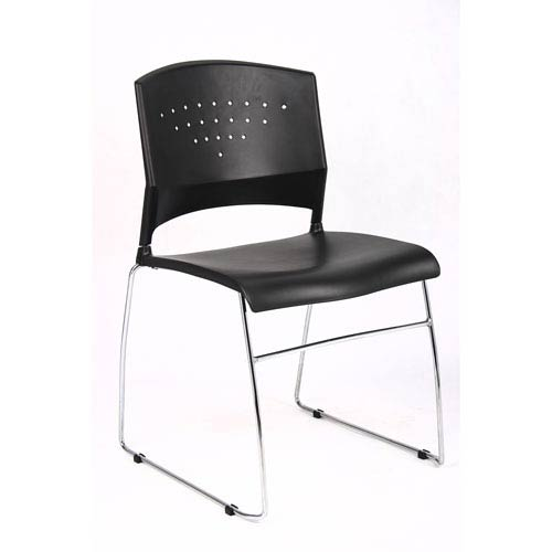 Boss Black Stack Chair With Chrome Frame, Set of 5