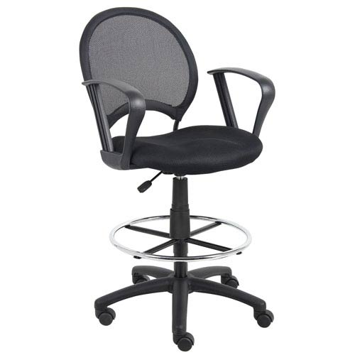 Excellent Boss Mesh Drafting Stool With Loop Arms Creativecarmelina Interior Chair Design Creativecarmelinacom