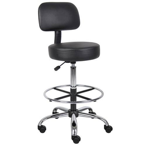 Boss Caressoft Medical/Drafting Stool with Back Cushion