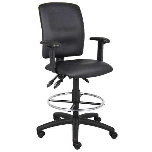 Boss Multi-Function LeatherPlus Drafting Stool with Adjustable Arms