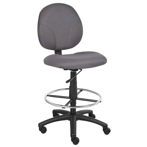 Boss Gray Fabric Drafting Stools with Footring
