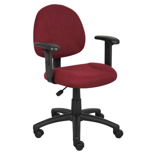 Boss Burgundy Deluxe Posture Chair with Adjustable Arms