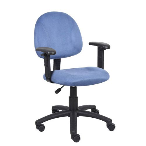 Boss Blue Microfiber Deluxe Posture Chair with Adjustable Arms
