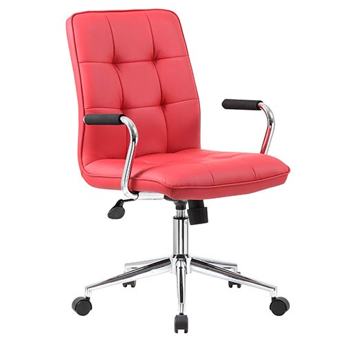 Red Modern Task Chair with Arms