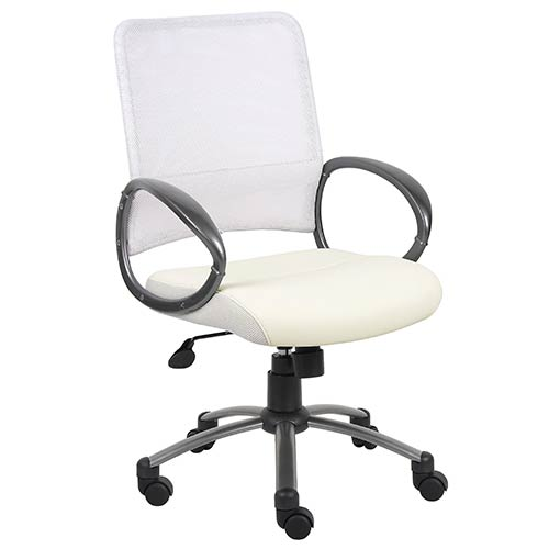 Presidential Seating White Managers Mesh Chair with Loop Arms