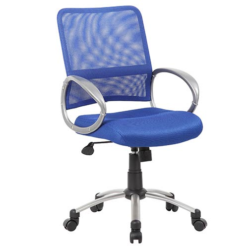Rainbow Mesh Blue Task Chair with Loop Arms